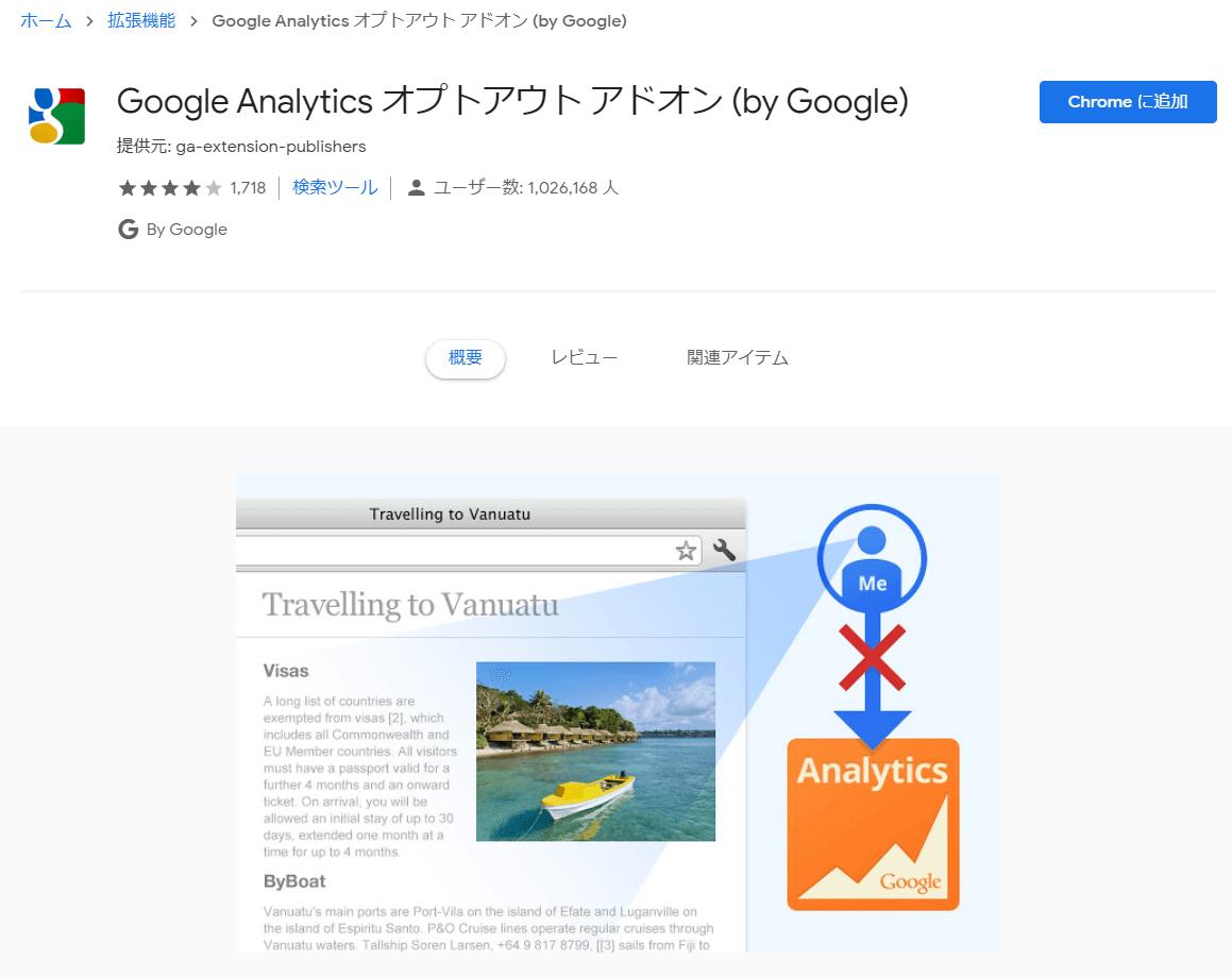 Google Analytics オプトアウトアドオン