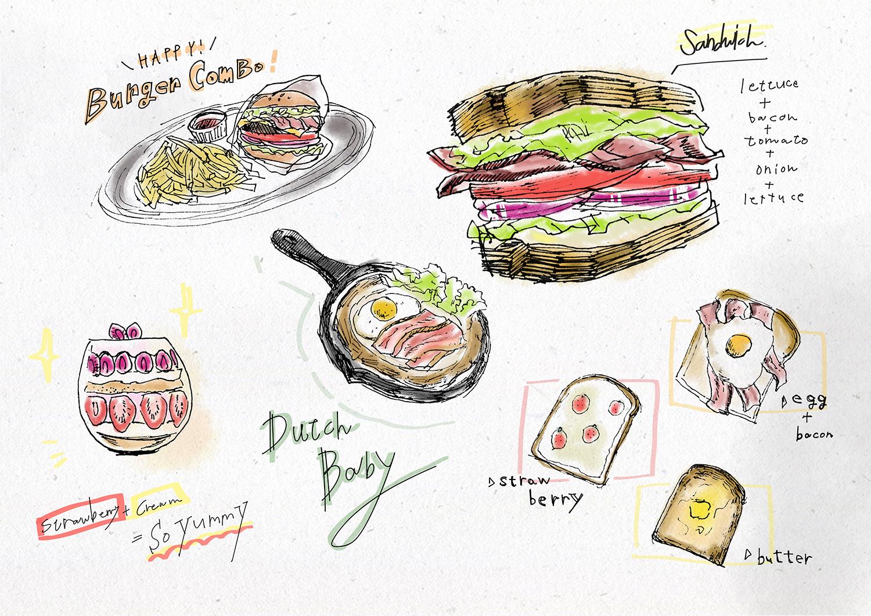 イラストで描かれたカフェメニュー ホームページ制作 東京 株式会社